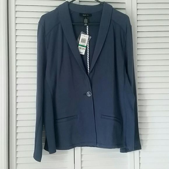 7bad128a99a87 Style & Co Jackets & Coats   Style Co Slate Blue Knit Blazer Size L ...